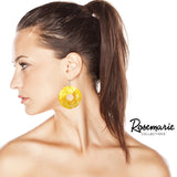 Colorful Spiral Circle Statement Natural Shell Dangle Earrings (Yellow)