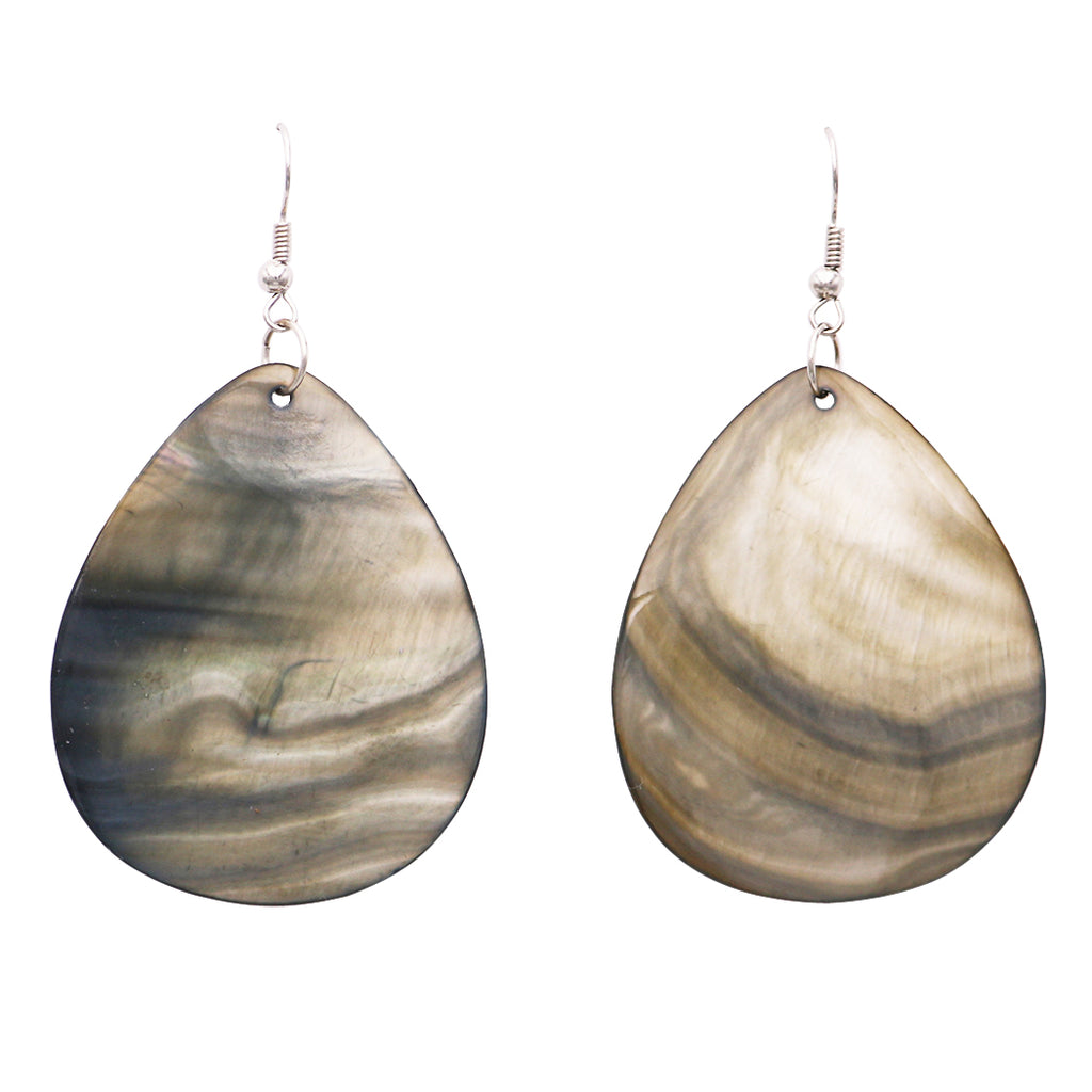 Long Fashion Statement Natural Shell Taupe Color Dangle Earrings