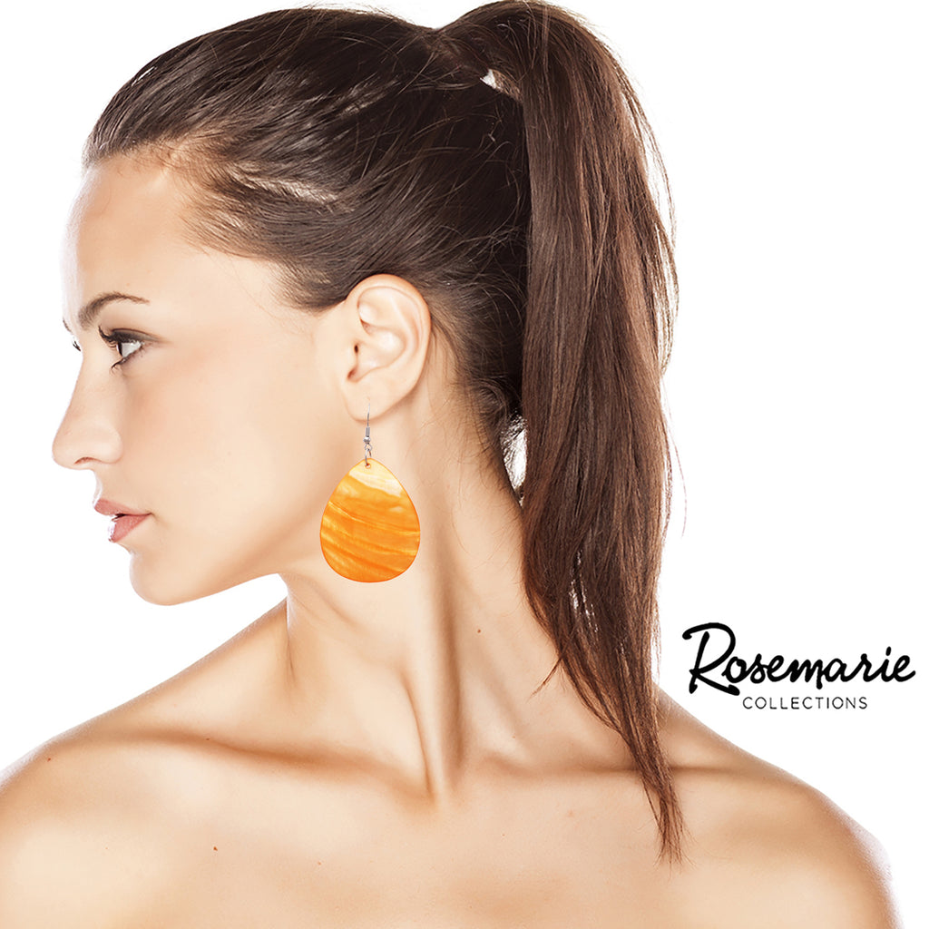 Women's Lightweight Trendy Colorful Statement Natural Shell Dangle Earrings (Orange)