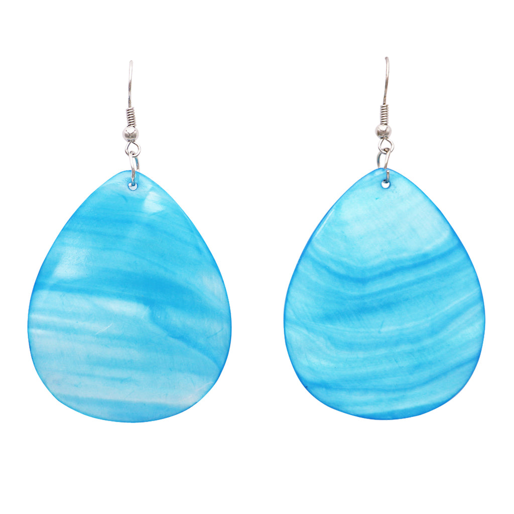 Colorful Statement Natural Shell Dangle Earrings (Turquoise)