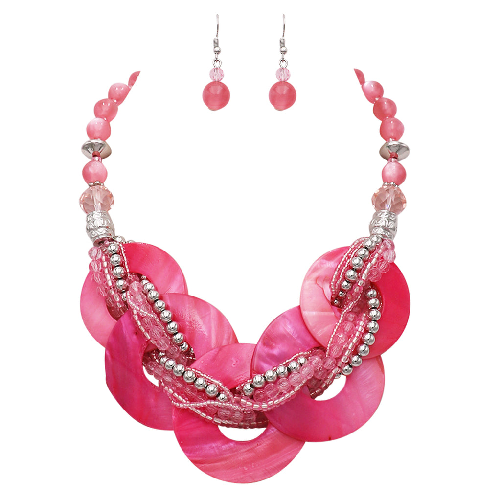 Chunky Rings Multi Strand Braided Bead Statement Collar Necklace Earring Set
