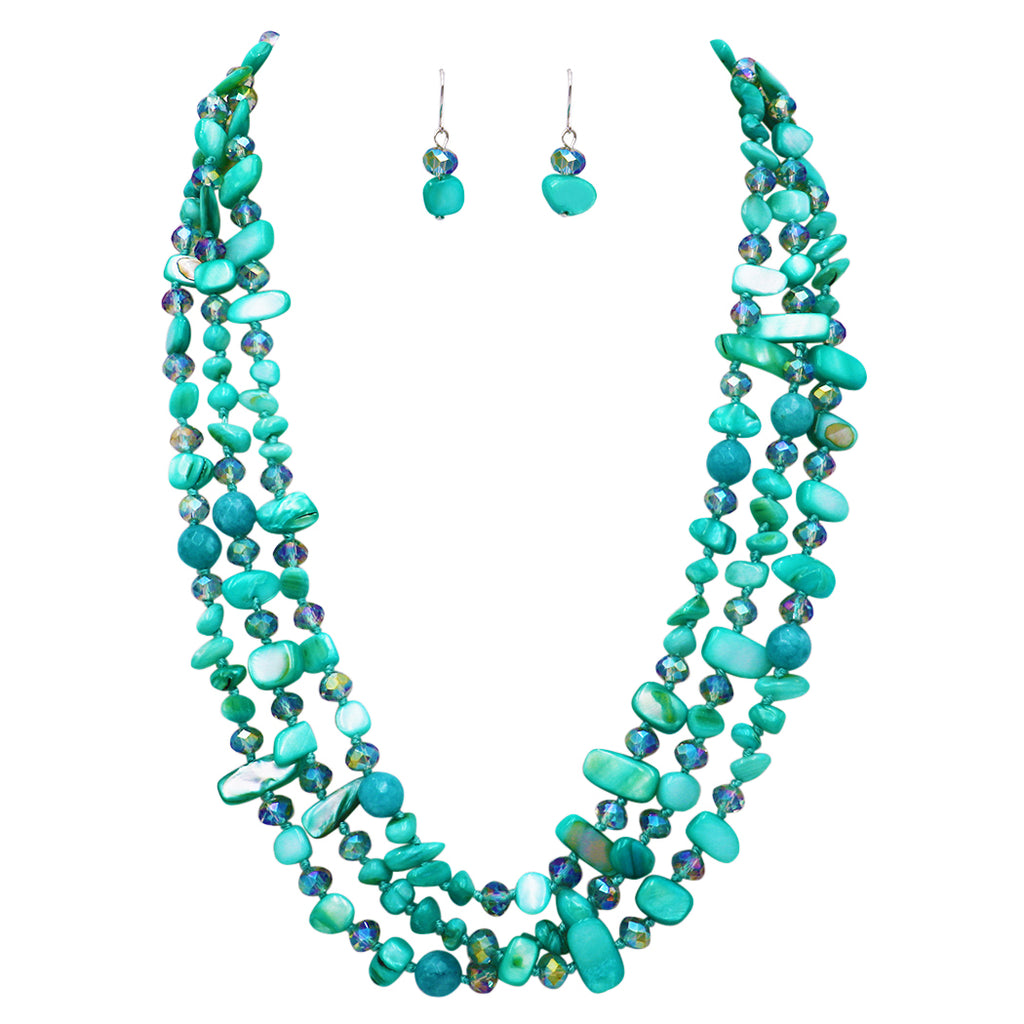Stunning Natural Shell Stone and Faceted Cut Glass Bead Knotted Multi Strand Bib Necklace and Earrings Set (Aqua)