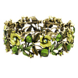Flower and Vine Glass Crystal Fashion Cuff Bracelet (Green/Antique Gold Tone)