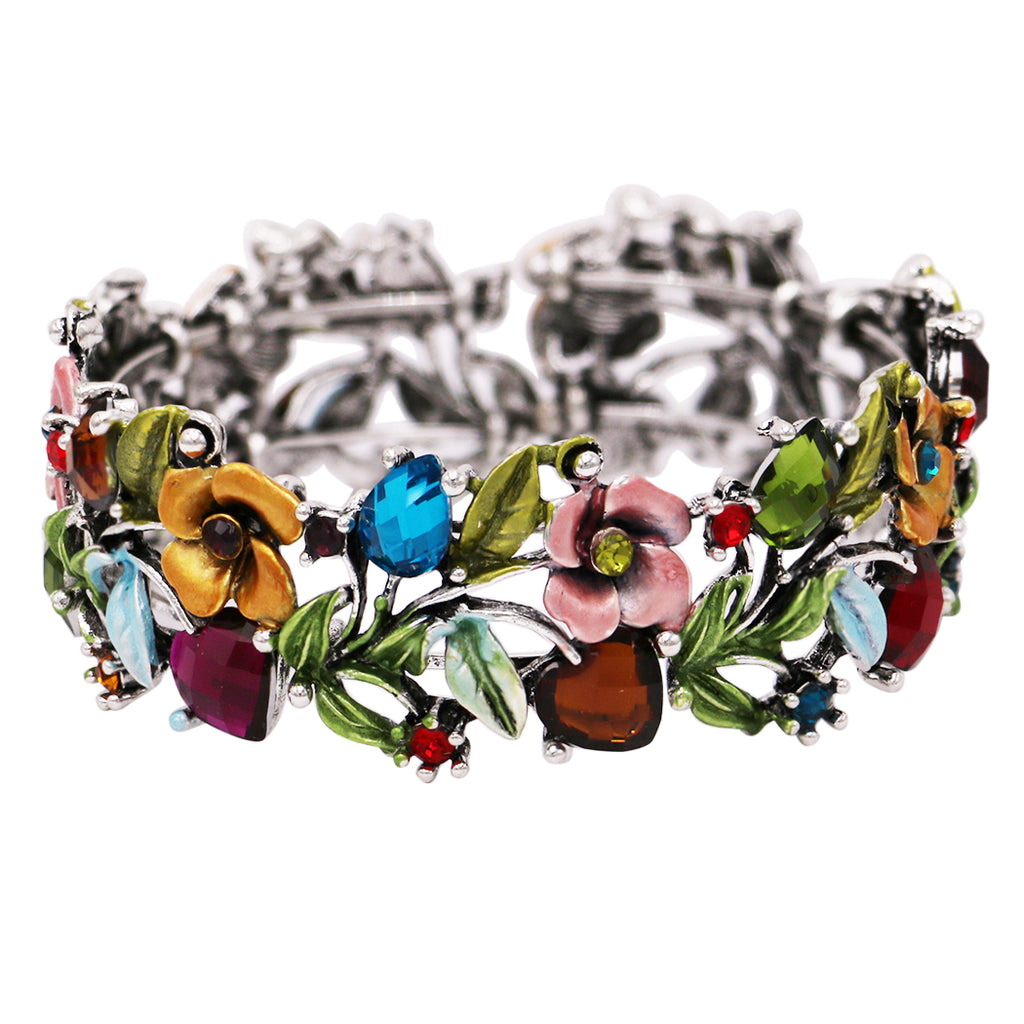 Flower and Vine Glass Crystal Fashion Cuff Bracelet (Multi/Antique Silver Tone)