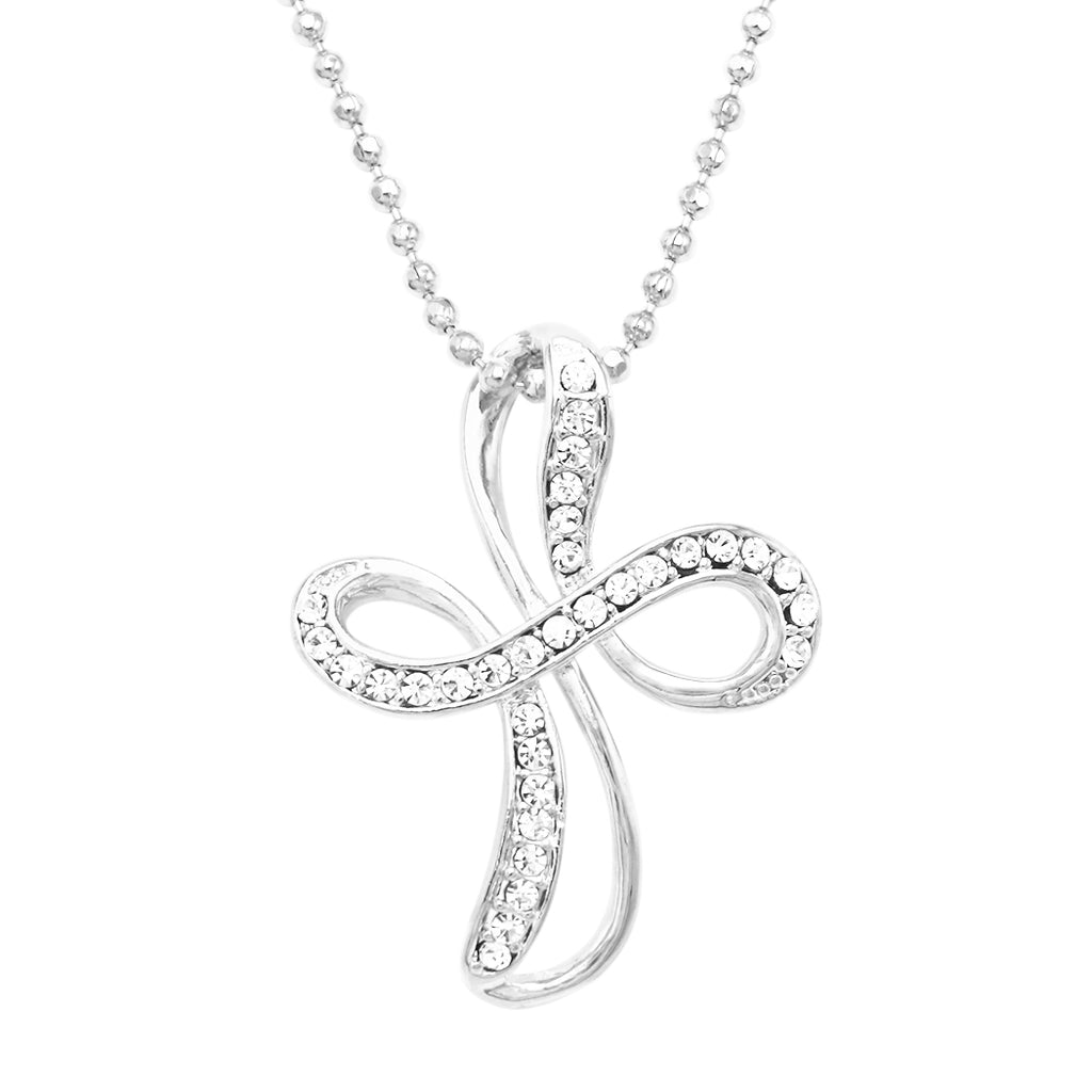 Religious Gift Infinity Cross Pendant Necklace (Silver Tone)