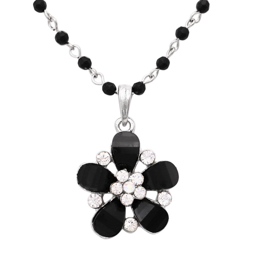 "Large Black Crystal Flower Large Pendant Necklace 18"" with 2"" Extender"