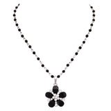 Large Black Crystal Flower Large Pendant Necklace 18