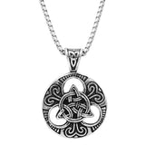 Rosemarie Collections Men's Celtic Trinity Knot Medallion Pendant Stainless Steel Necklace