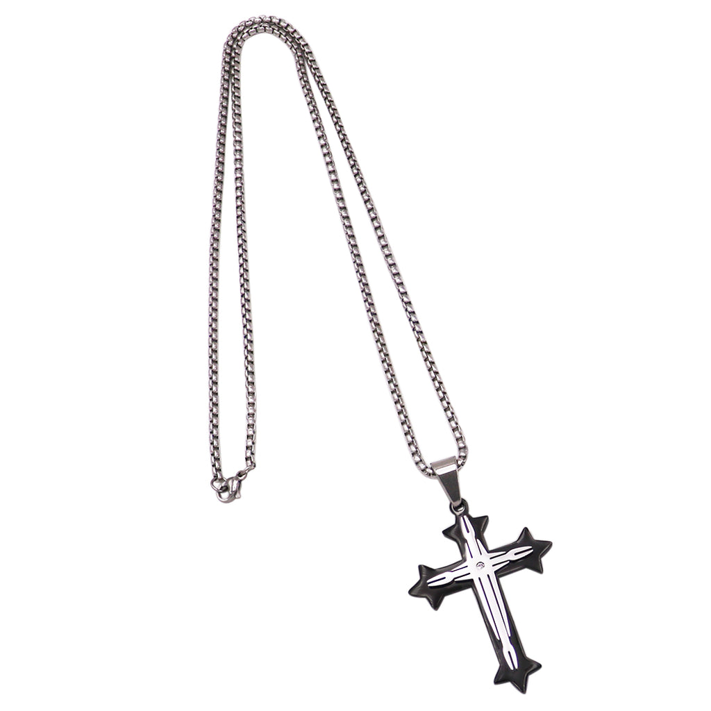 Two Tone Religious Cross Pendant Stainless Steel Necklace