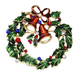 Merry Christmas Jewelry Holiday Christmas Wreath Charm Brooch Pin