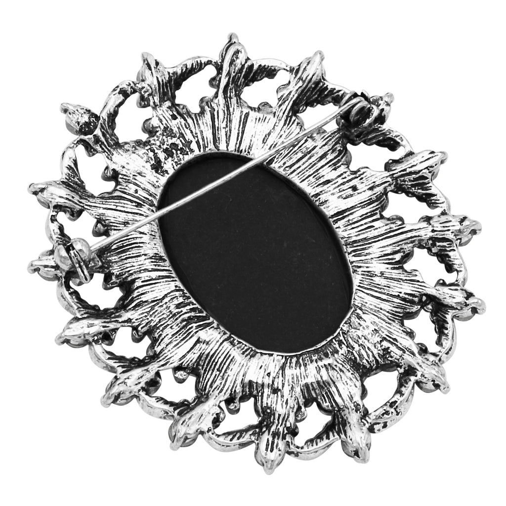 Large Oval Rhinestone Frame Cameo Statement Brooch Pin (Black)