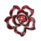 Large Red Rose Flower Rhinestone Brooch Pin