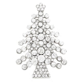 Sparkling Clear Silver Tone Rhinestone Christmas Tree Holiday Brooch Pin