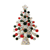 Sophisticated Red and Green Rhinestone Christmas Tree Holiday Brooch Pin