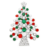 Sparkling Rhinestone Christmas Tree Holiday Brooch Pin (Silver/Green-Red)