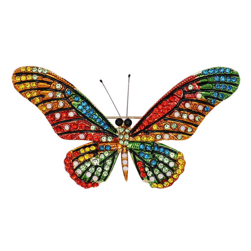 Stunning Multicolored Crystal Butterfly Brooch Pin