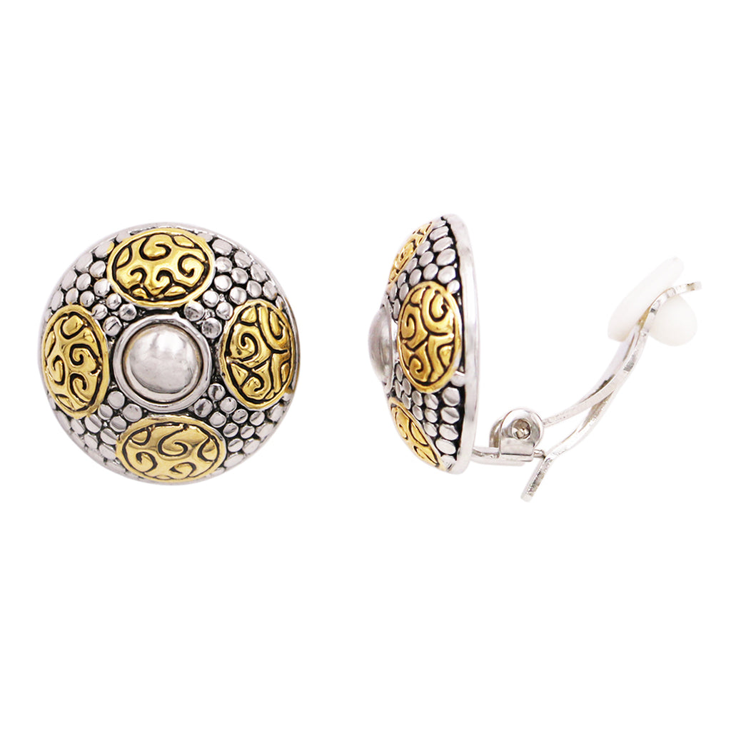 Two Tone Textured Statement Circular Clip On Earrings