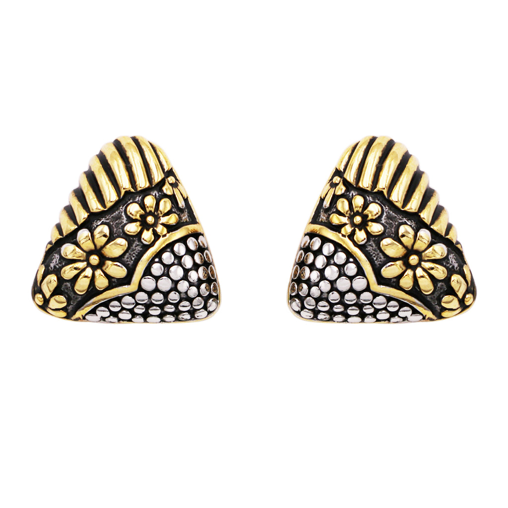 Two Tone Textured Statement Triangle Clip On Earrings
