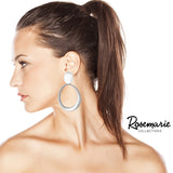 Statement Metal Disc Oval Twist Hoop Dangle Clip on Style Earrings (Matte Silver Tone)