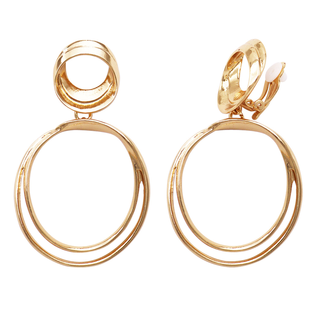 Statement Metal Disc Double Circle Gold Tone Twist Hoop Dangle Clip on Style Earrings