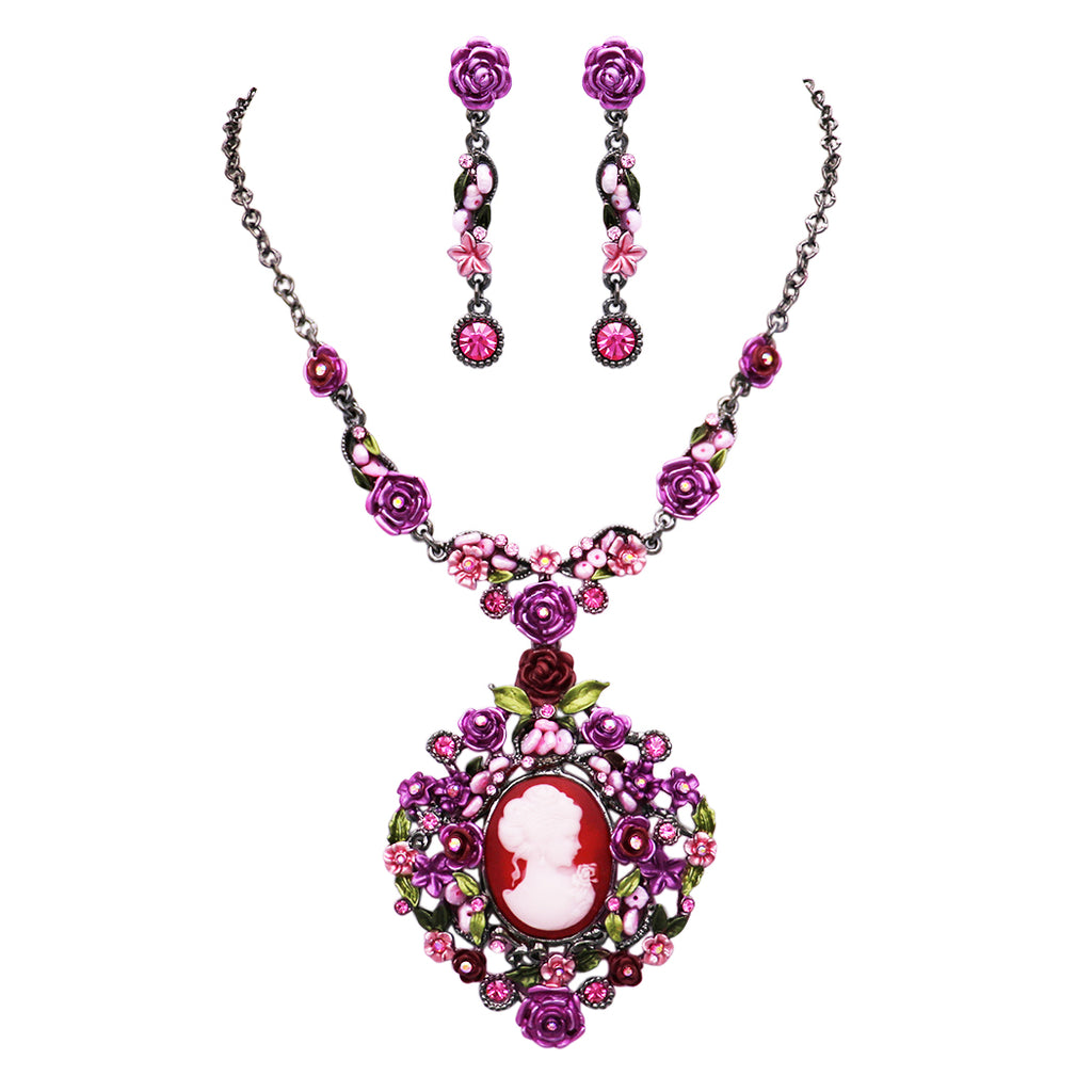 "Beautiful Statement Cameo and Flower Surround Collar Necklace and Earring Jewelry Set 14""-17.5"" with 3.5"" Extender"