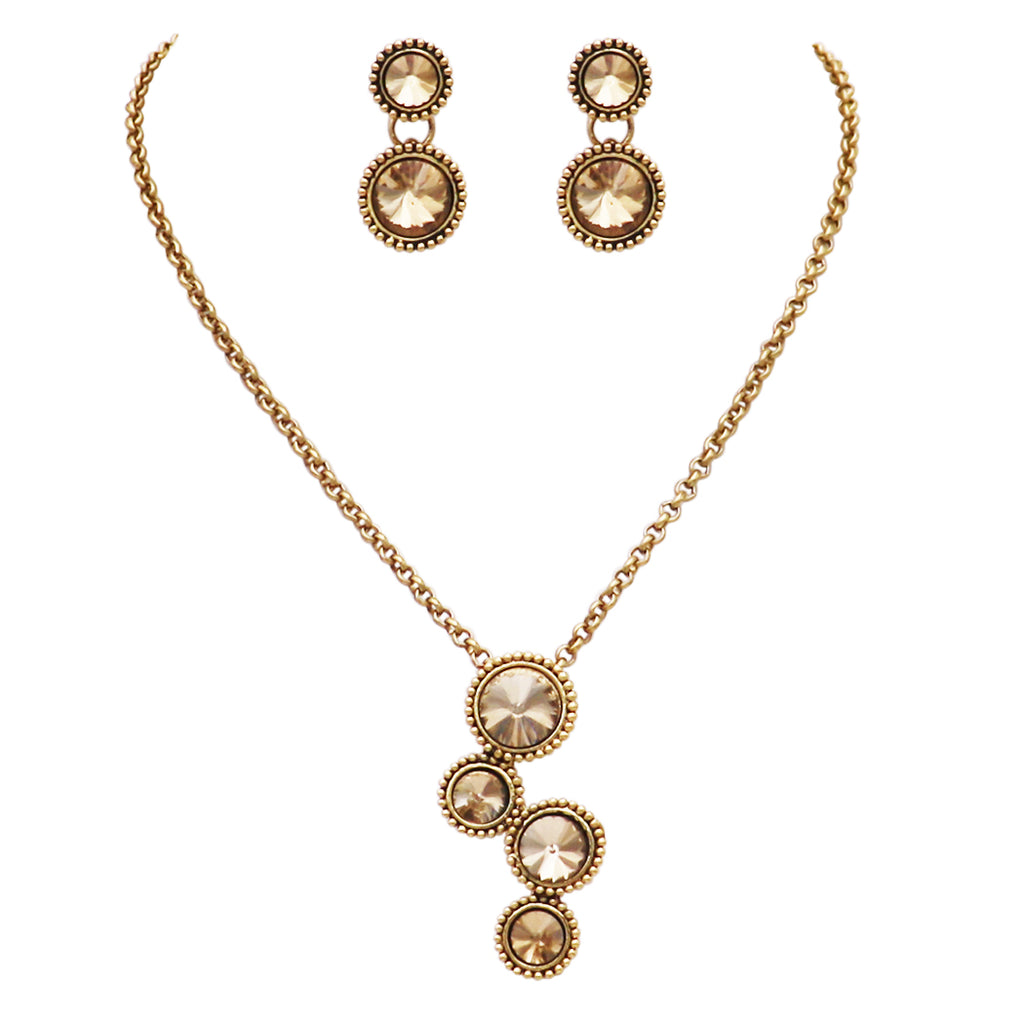 Vintage Style Rivoli Cut Crystal Rhinestone Circular Pendant Necklace and Earrings Set (Light Topaz/Gold Tone)