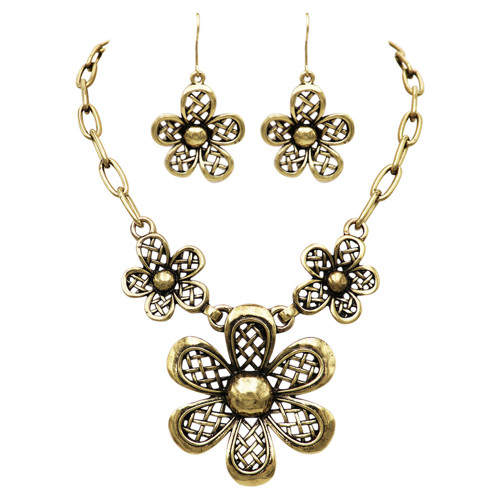 Antique Gold Tone Daisy Flower Statement Pendant Necklace and Earrings Jewelry Gift Set