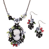 Rosemarie Collections Women's Beautiful Statement Cameo and Flower with Dragonflies Surround Collar and Earrings Set