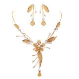 Stunning Floral Statement Dangling Necklace and Earring Set (Gold)