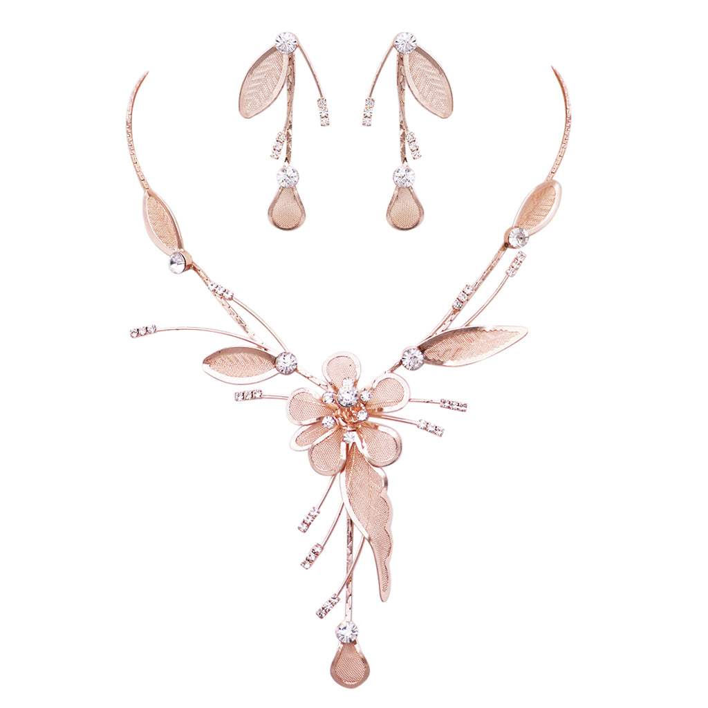 Stunning Floral Statement Dangling Necklace and Earring Set (Rose Gold)