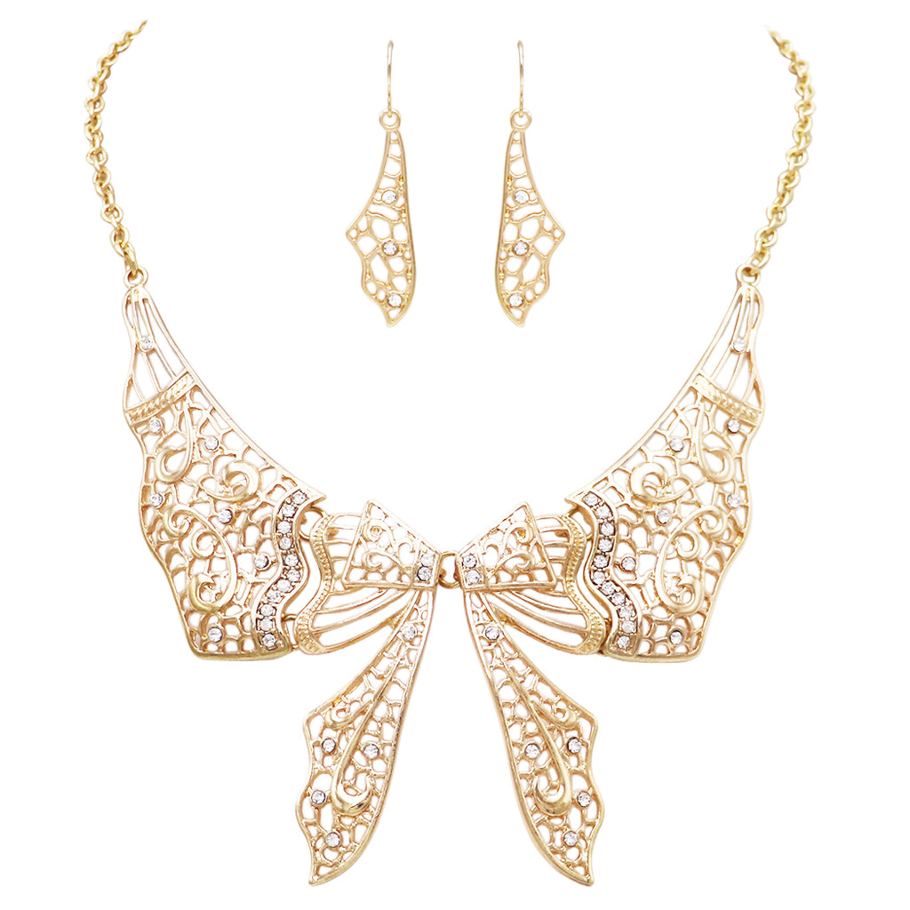 Beautiful Statement Filigree Bow Collar Necklace and Earrings Jewelry Set (Gold Tone)