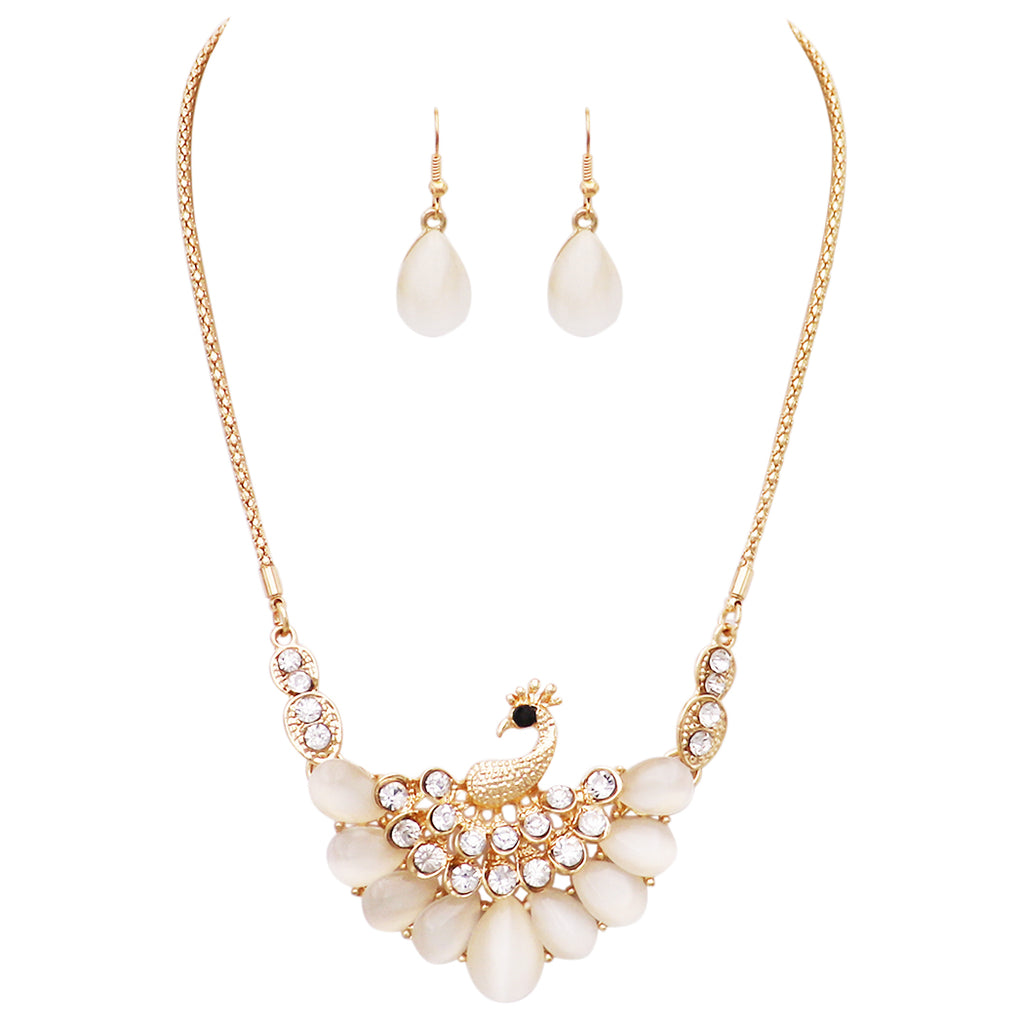 Stunning Resin and Crystal Rhinestone Peacock Necklace and Earrings Set (White/Gold Tone)