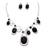 Black Oval Crystal Rhinestone Deep V Necklace and Earrings Statement Jewelry Set