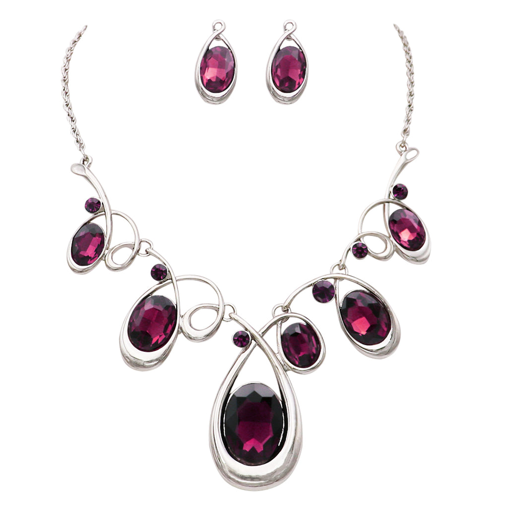 Statement Silver Tone and Spiral Loop Crystal Bib Necklace and Earrings Set (Purple)