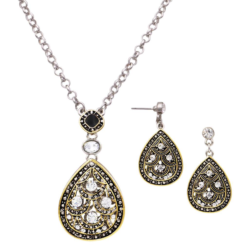Crystal Rhinestone Accented 2 Tone Teardrop Statement Necklace Earrings Set