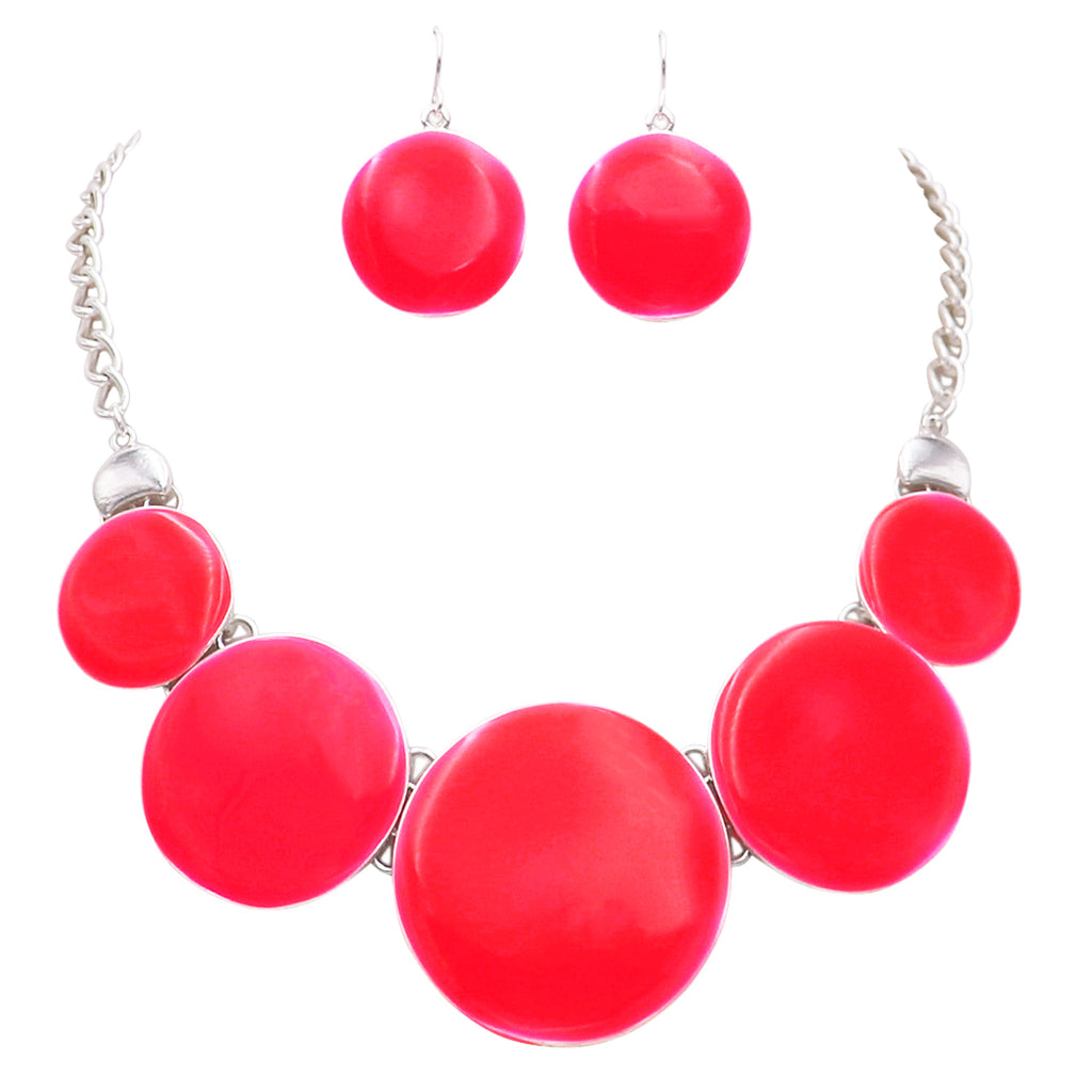 Colored Enamel Disc Bib Statement Necklace Drop Earrings Set (Bright Red/Silver)