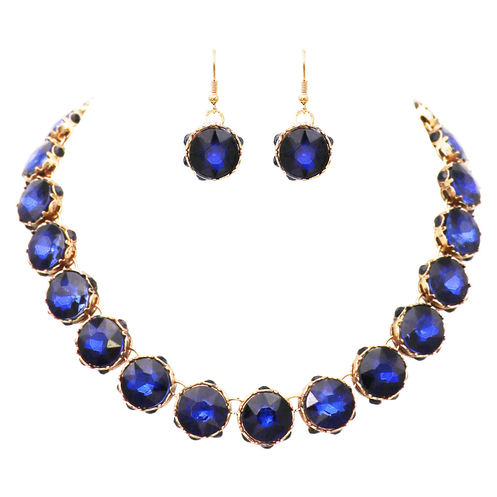 "Women's Dark Blue Rhinestone Collar Necklace and Dangle Earring Jewelry Set, 16"" with 2.75"" Extender"
