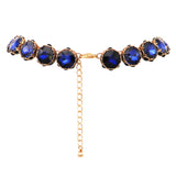 Women's Dark Blue Rhinestone Collar Necklace and Dangle Earring Jewelry Set, 16