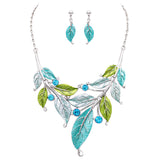 Shades of Aqua Leaf and Vine Classic Statement Necklace Earrings Set