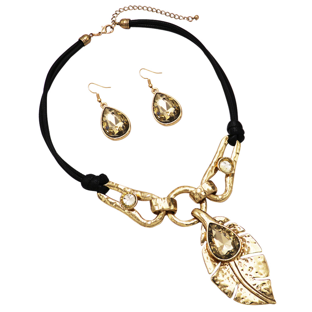 Stunning Statement Textured Metal Leaf and Teardrop Crystal Bib Necklace Earring Set (Gold and Topaz)