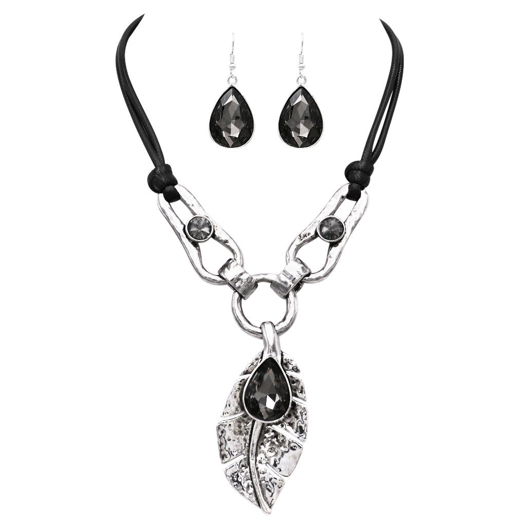 "Stunning Statement Textured Metal Leaf and Teardrop Crystal Bib Necklace Earring Jewelry Set (Black and Silver) 17""-20"" with 3"" extender"