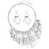 Women's Stunning Statement Silver Tone Bar Collar Necklace and Earring Jewelry Gift Set