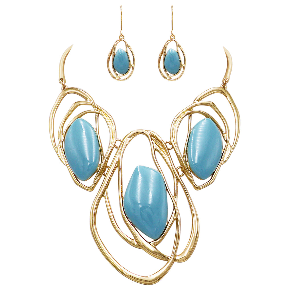 Gold Tone Statement Link Hoops with Turquoise Color Collar Necklace Earrings Jewelry Set