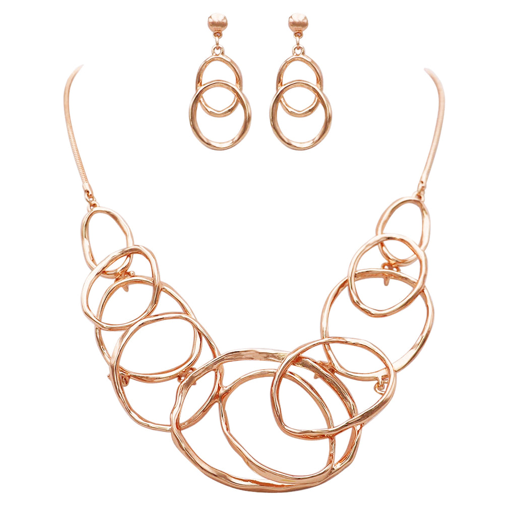 Rose Gold Fashion Jewelry Set Link Hoops Statement Collar Necklace and Earrings Jewelry Set