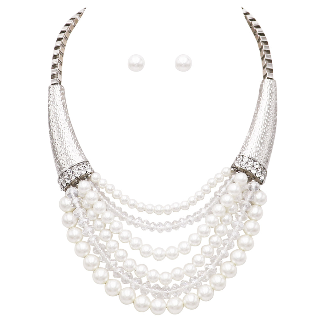 Multi Strand Faux Pearl and Crystal Bead Bib Necklace Earrings Set