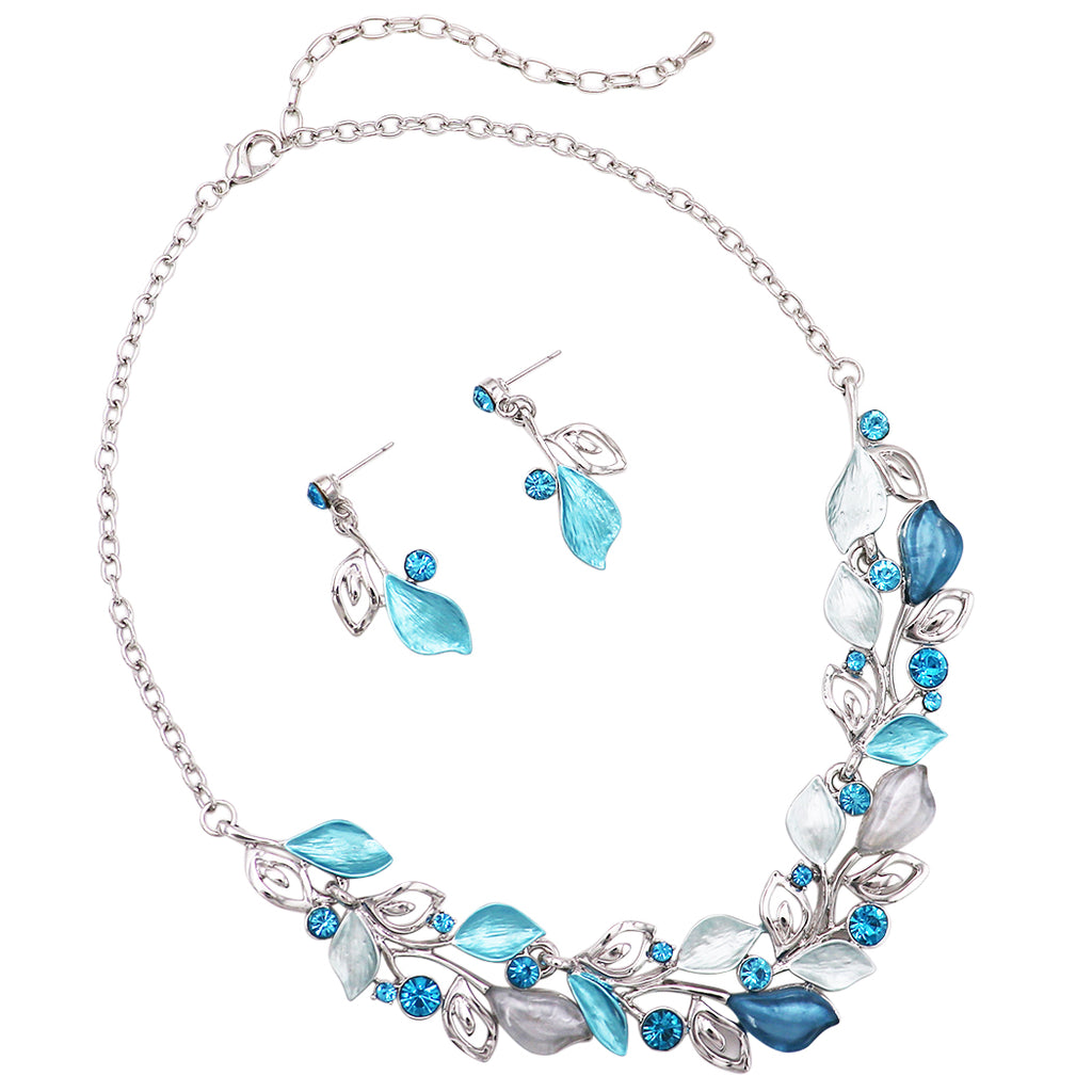 Floral Statement Necklace and Matching Earrings Set (Aqua)