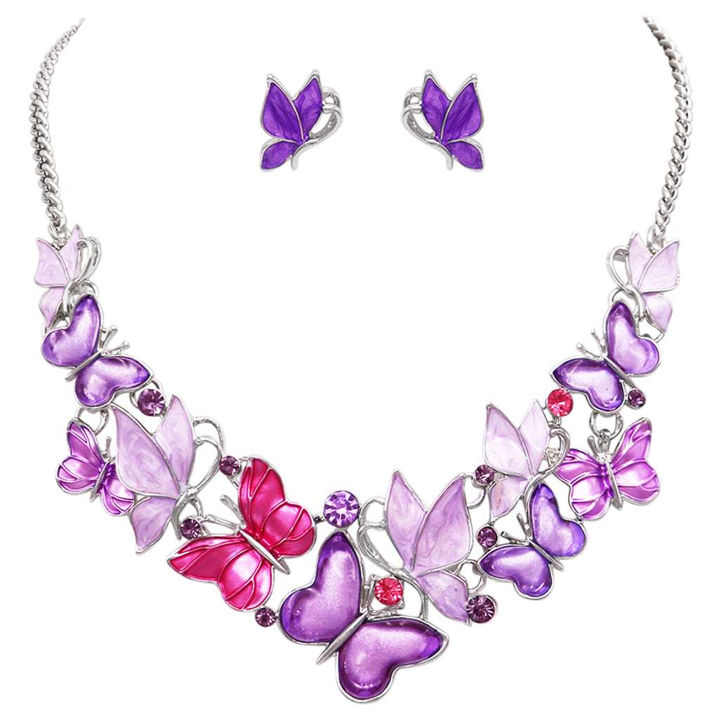 "Beautiful Statement Pastel Pink and Lavender Butterfly Collar Necklace and Earring Silver Tone Jewelry Set 18"" with 2"" Extender"