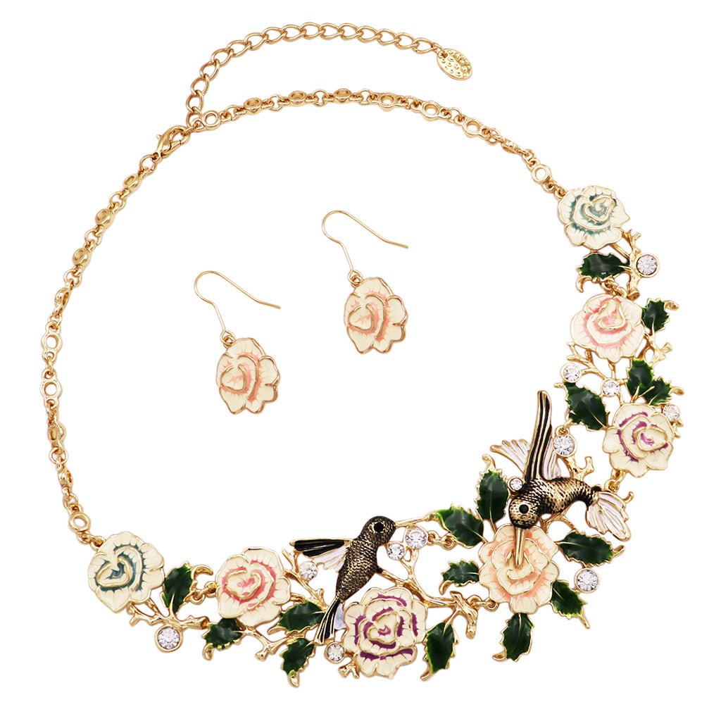 Beautiful Statement Enamel Floral Rose and Hummingbird Collar Necklace and Earrings Set