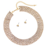 Rhinestone Adjustable Crystal Collar Necklace and Earrings Jewelry Set