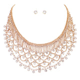 Vintage Design Crystal Rhinestone and Beaded Collar Necklace and Earrings Set (Gold)